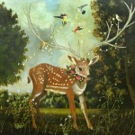 Fawn with Hummingbirds (2010) – mixed media on panel – 48×48 in – $6800.