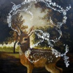 What the Fawn Heard (2010) – mixed media on panel – 30×30 in – $5200.