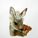 Flower Fawn (2010) - mixed media on paper - 30 x 21 in. - $1200 (framed)