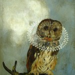 Owl With Lace Collar (2010) – mixed media on panel – 14×11 in – $1500.