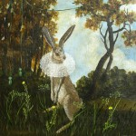 Rabbit with Lace Collar (2010) - mixed media on panel - 36x36 in - $5800.